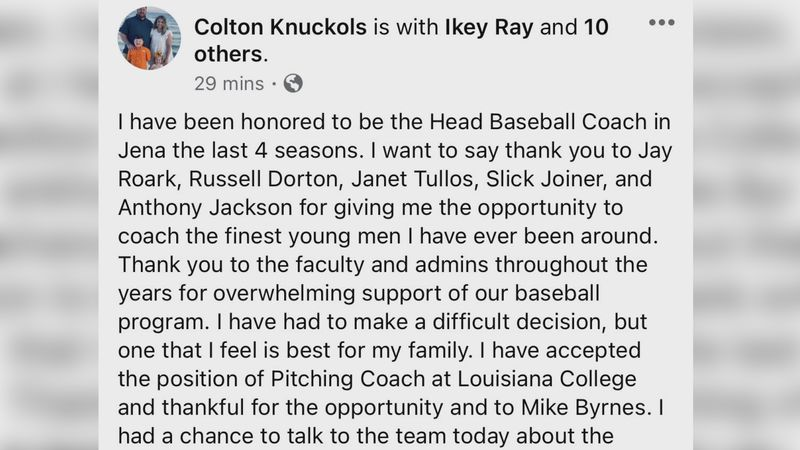 After four seasons, Colton Knuckles will leave Jena High School.